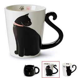 Cute Cat Mug for Coffee or Tea: Ceramic Cup for Cat Lovers with Black and White Kitty and Tail S ...