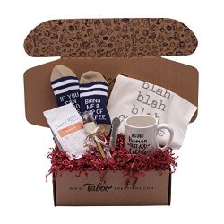 Taboo Creations Coffee Lovers Gift Basket Box – Fun & Unique Gift Box for Coffee Lovers