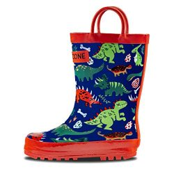 LONECONE Rain Boots with Easy-On Handles in Fun Patterns for Toddlers and Kids, Puddle-a-Saurus  ...
