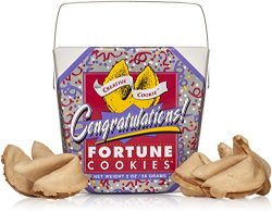 Congratulations Gifts Fortune Cookies In A Gift Box – 8 Pieces Traditional Vanilla Flavor Indivi ...