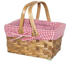Vintiquewise(TM) Rectangular Basket Lined with Gingham Lining, Small