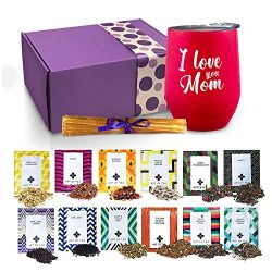 Mom Gifts – Tea Set Gifts For Mom Includes I Love You Mom Insulated Tea Cup 12 Organic Han ...