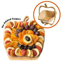 Oh! Nuts Dried Fruit Gift Basket | Healthy Assorted Gourmet Food Snacks in Folding Wooden Trivet ...