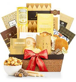 GiftTree As Good As Gold Congratulations Gift Basket | Includes Almond Roca, Caramel Toffee Popc ...