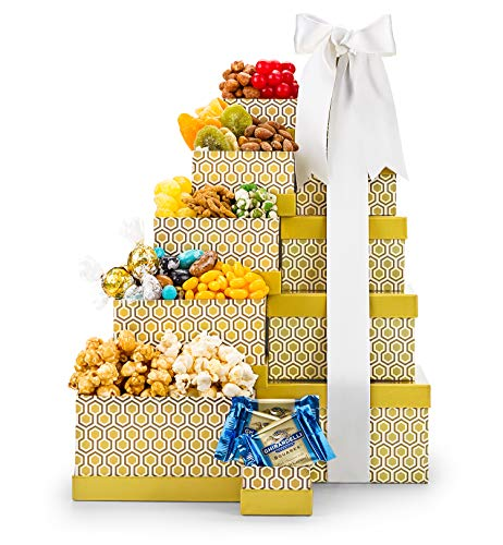 GiftTree First Choice Gourmet Gift Tower | Ghirardelli and Lindor Chocolates, White Cheddar Popc ...