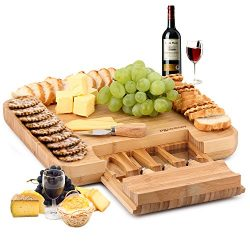 Natural Bamboo Cheese Board & Charcuterie Platter w/Hidden Drawer for Cutlery Set – Pe ...