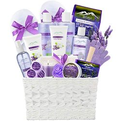 Jasmine Lavender Bath Gift Basket for Women! XL Spa Gift Basket for Relaxing at Home Spa Kit. Pu ...