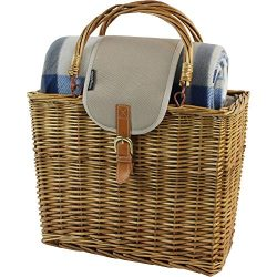 Willow Picnic Cooler Basket with Picnic Blanket and Insulated Cooler,Foldable Handle Wicker Hamp ...