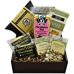 Sweet and Savory Gift Box featuring Smoked Salmon, Crackers, Pistachios, Honey Roasted Peanuts,  ...