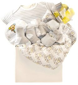 Newborn Baby Unisex Gift Basket with A Hat, Receiving Blanket, Socks, Onesie and More …