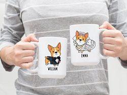 Personalized Bride and Groom Corgi Mugs, Custom Name Coffee Mug, Dog Couple Mug, Wedding Mug, En ...