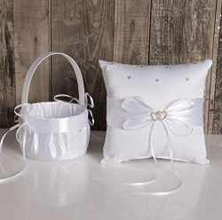 TRUE LOVE GIFT Ring Bearer Pillow and Wedding Flower Girl Basket Set Love Rhinestones Satin Coll ...