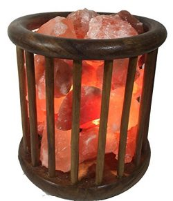KHEWRA : Natural Crystal Air Purifying Wood Basket Himalayan Salt Lamp with Pure Salt Chunks wit ...