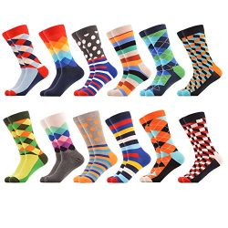 WeciBor Men's Dress Party Colorful Funny Cotton Crew Socks 12 Packs