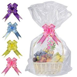 SelfTek 20 Pack Clear Basket Bags Cellophane Wrap Bags,with 20 Pack Bows Ribbon (Random Two Colo ...