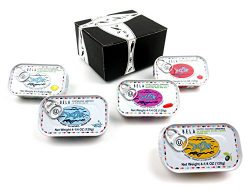 BELA Portuguese Sardines 5-Flavor Variety: One 4.25 oz Tin Each in a BlackTie Box (5 Items Total)