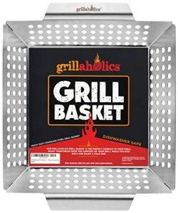 Grillaholics Grill Basket – Large Grilling Basket for More Vegetables – Heavy Duty S ...