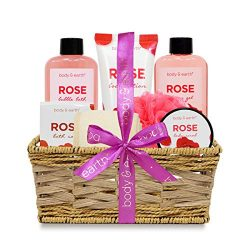 Spa Gift Basket Set for Women – Relaxing Home Spa Kit with Rose Scent Handmade Basket Wrapped fo ...