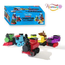 Nainiuao 189 Pcs Building Blocks Train Set ,6 Pcs Train Cabins Building Kits for Easter Eggs Fil ...