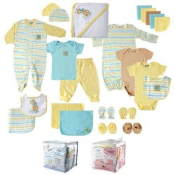 Luvable Friends Unisex Baby Gift Cube, Yellow Giraffe, 24-Piece Set, 0-6 Months