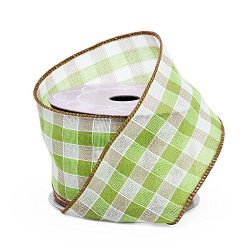 Apple Green Gingham Wired Ribbon – 2 1/2″ x 10 Yards, Easter Baskets, St. Patrick ...