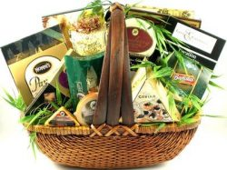 The Finer Things In Life, Large Gourmet Gift Basket Loaded with Cheeses, Crackers, Nuts, Caviar, ...