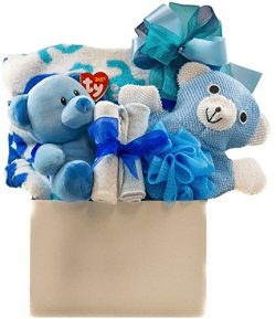 Baby Boy Snuggles Gift Basket with Blanket, Bath Accessory, Washcloths and Teddy …