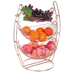 MyGift Copper Wire Metal 3-Tier Chrome Triple Hammock Fruit/Produce Basket Display Stand