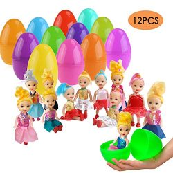 ESSENSON 12 Pack Jumbo Easter Eggs with Doll Inside, Colorful Pre Plastic Easter Eggs for Boys G ...