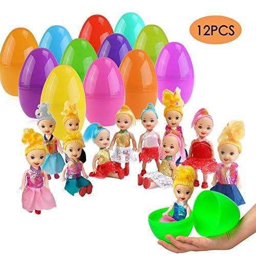 ESSENSON 12 Pack Jumbo Easter Eggs with Doll Inside, Colorful Pre Plastic Easter Eggs for Boys G ...