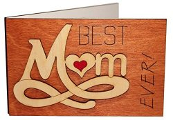 Handmade Real Wood Best Mom Ever Forever Love Inspiring Mothers Day Greeting Card for Mother God ...