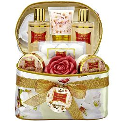 Mother's Day Gifts Bath and Body Gift Basket For Women – Honey Almond Home Spa Set with Fr ...