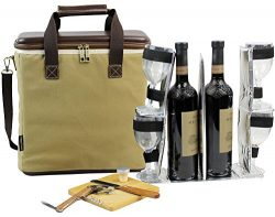 3 Bottle Heavy Duty Wine Cooler Bag/Insulated Wine Carrier for Travel/EVA Molded Champagne Carry ...