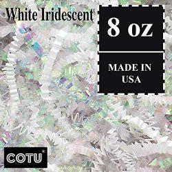 1/2 LB Premium White Metallic & Iridescent Fancy Blended Crinkle Shred Gift Basket Shred Cri ...