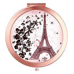 HeaLife Paris Eiffel Tower Compact Mirror Rose Gold Travle Makeup Mirror [New Version] Double Si ...