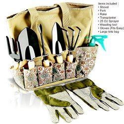 Scuddles Garden Tools Set – 8 Piece Heavy Duty Gardening tools With Storage Organizer, Erg ...