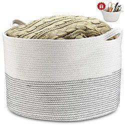 XXXLarge Blanket Basket 21.7″21.7″13.8″ Cotton Rope Basket with Handle Baby La ...