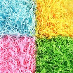 AuIhiay Easter Grass Shredded Tissue Paper Raffia Basket Shreds Crinkle Paper in Yellow, Pink, G ...