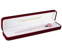 Luxury Crystal Ballpoint Gift Pen Encased in Velvet Case With Choice of Message: Happy Birthday! ...