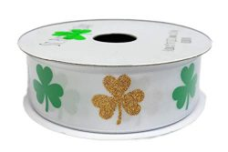 "St. Patrick's Day Green and Gold Shamrocks Holiday Gift Crafting Ribbon 7/8″""  ..."