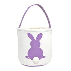 MONOBLANKS Easter Bunny Basket Bags for Kids Canvas Cotton Carrying Gift and Eggs Hunt Bag,Fluf ...