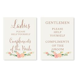 Andaz Press Wedding Party Signs, Faux Rose Gold Glitter with Florals, 8.5×11-inch, Ladies G ...