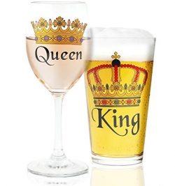 Juvale King & Queen Crown Design Beer & Wine Drinking Glasses for Couples, Weddings, Hou ...
