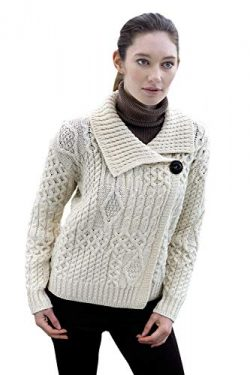 Irish Merino Wool One Button Aran Ladies Sweater