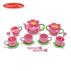 Melissa & Doug Bella Butterfly Pretend Play Tea Set (Pretend Play, Food-Safe Material, BPA-F ...