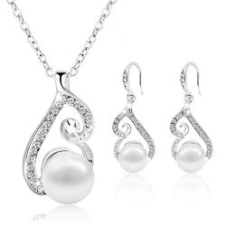 Morenitor Jewelry Set Gold Plated Faux Pearl Pendant Necklace Dangle Earring Stud Set Gifts for  ...