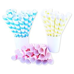 Fairy Cones Premium Multicolor Cotton Candy Cones (50 pcs), Pastel Yellow Blue and Red White Str ...