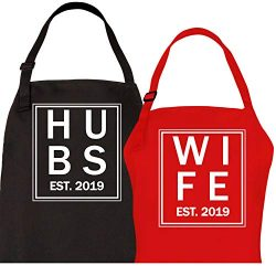 Let the Fun Begin Hubs and Wife Est. 2019 Aprons, Couples Wedding Engagement Gifts His Hers Mr M ...