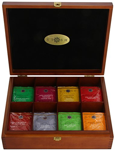 Stash Tea 8 Flavor Variety Pack Gift Set 80 Count Tea Bags in Foil with Tea Chest Individual Tea ...