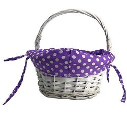 CFP Wicker Easter Gift Basket – Wicker Easter Baskets with Polka Dot Liner, Traditional Ki ...